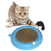 Bestanx Pet Cat Turbo Scratcher Kitty Scratch Board Pad Mat with Mouse Ball Toy