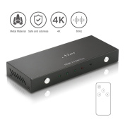 HDMI Switch Splitter with Premium 1X3 Amplifier High Speed Port with IR wireless remote- supports 4K@60Hz,3D, Full HD 1080p