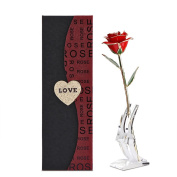 Rose Flower, 24K Eternal Red Gold Rose Flower in Gift Box with Clear Display Stand, Best Gift for Valentine's Day, Mother's Day, Anniversary, Birthday
