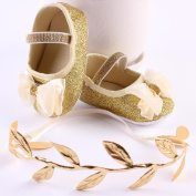 YJYdada Baby Infant Toddlers Soft Sole Sequin Bowknot Mary Jane Shoes + Leaves Headband /Set (11