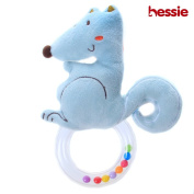 Hessie Baby Rattle with Animal - Blue Squirrel