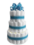 DIY- Plain 3-Tier Nappy Cake for a Boy Baby Shower. Decorated with Blue Ribbons and a Blue Bow - 74 Pampers Swaddlers Nappies