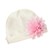 TRENDINAO Newborn Baby Girls Flower Hat White Cotton Soft Hats Cap