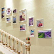 LANNA SHOP- Multi Picture Frame Set, Stairs Wall Photo Frame, Wall Frame Set With 11 Frames, Large Photo Frame Wall Set, Covers 95cm X 168cm, Best Wall Decorations