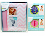 Baby Memory Book with Clean-Touch Ink Pad, Monthly Milestone Belly Sticker, and Holiday Milestone Belly Sticker Bundle of 3 items