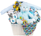 Newborn Baby Boy Gift Basket with Onesie, Blanket and Slipper Set, Plush and Toys