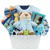 Newborn Baby Boy Gift Basket with Onesie, Plush, Toy, Block and Picture Frame