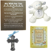 Baby BAPTISM, CHRISTENING or BABY SHOWER GIFT SET-Baby Bible, Crib Medal, Lamb Rattle and Artwork-1 Big Dream