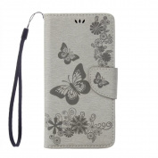 Moto G4 / G4 Plus Case, ARSUE Shock Absorbing Premium Soft Flip Folio [Kickstand Feature] PU Leather Wallet Butterfly Flower Case with ID & Credit Card Pockets for Motorola Moto G4, Moto G4 Plus,Grey