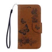 Galaxy S8 Plus Wallet Case ,Samsung Galaxy S8 Plus Cover, ARSUE PU Leather Wallet Flip Butterfly Flower Protective Case Cover with Card Slots and Stand for Samsung Galaxy S8 Plus,Brown