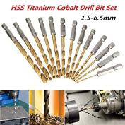 13pcs 1/4 Inch Hex Shank 1.5-6.5mm HSS Titanium Coated Drill Bit Set