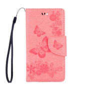 Sony Xperia X Compact Case, ARSUE Shock Absorbing 3D Handmade Soft Flip Folio [Kickstand Feature] PU Leather Wallet Butterfly Flower Case with ID & Credit Card Pockets for Sony Xperia X Compact,Pink
