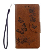 Sony Xperia L1 Case, ARSUE Shock Absorbing 3D Handmade Premium Soft Flip Folio [Kickstand Feature] PU Leather Wallet Butterfly Flower Case with ID & Credit Card Pockets for Sony Xperia L1,Brown