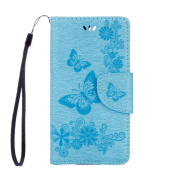 Sony Xperia L1 Case, ARSUE Shock Absorbing 3D Handmade Premium Soft Flip Folio [Kickstand Feature] PU Leather Wallet Butterfly Flower Case with ID & Credit Card Pockets for Sony Xperia L1,Blue