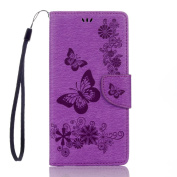 Sony Xperia XA1 Ultra Case, ARSUE Shock Absorbing Soft Flip Folio [Kickstand Feature] PU Leather Wallet Butterfly Flower Case with ID & Credit Card Pockets,Purple