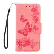 Huawei Mate 9 Case, ARSUE Shock Absorbing 3D Handmade Premium Soft Flip Folio [Kickstand Feature] PU Leather Wallet Butterfly Flower Case with ID & Credit Card Pockets for Huawei Mate 9 (2016),Pink