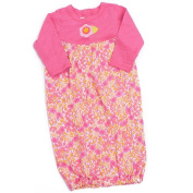 Baby Lulu Girls Pink Floral Cotton Long Fold Over Sleeve Sleep Bunting Gown 3M
