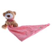 MonkeyJack Infant Baby Nursery Toddler Soft Smooth Bath Security Cartoon Bear Toy Blanket - Pink, as described