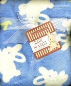 Bunny Rabbits Blue Micro Fleece Plush Baby Toddler Blanket Bunnies
