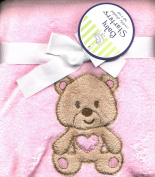 Pink Plush Teddy Bear Baby Toddler Blanket Velour Applique