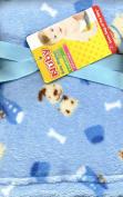Puppy Dogs Bones Aeroplanes Blue Plush Baby Toddler Blanket