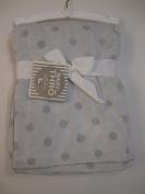Baby Boy 2 Tone Dots Blanket Grey Reversible 80cm X 100cm