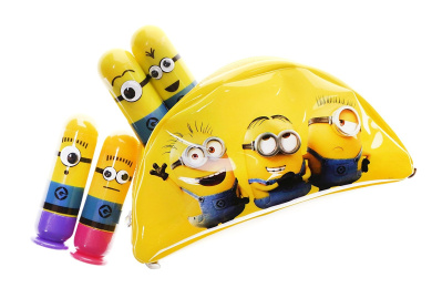 Townley Girl Despicable Me 3 Super Sparkly Lip Gloss Set for Girls, 4 Yummy Flavours with Banana Bag
