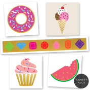 SUGAR FIX VARIETY PACK Flash Tattoos set of 25 assorted sweet treat inspired premium waterproof colroful metallic gold & silver jewellery colourful temporary foil party tattoos