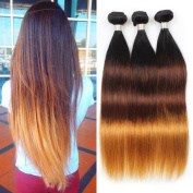Allove Hair 8A Brazilian Ombre Straight Hair Bundles 1-4-27# 3 Tone Colour Remy Silky Straight Human Hair Weave Bundles