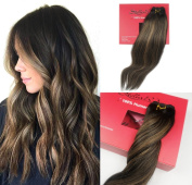 Stella Reina Balayage Clip In Hair Extensions Natural Black Brunette Hair with Chestnut Brown Highlights 2 Shades Colour Dye #1B/6 Sombre Real Human Hair Straight 46cm
