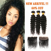 100% Unprocessed Virgin Hair Deep Curly Brazilian Hair 3 Bundles with 13x4 Free Part Ear to Ear Full Lace Frontal with Baby Hair for Black Women Natural Colour 14 16 18+12 Frontal