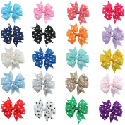 Healthcom Bows Hair Barrettes Hair Clips with Alligator Clips No Slip Metal Hair Clip Dots Hair Bows Clips For Baby Girls Teens Toddlers Kids Children,20 Pcs