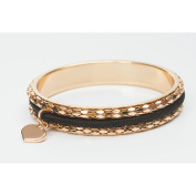 Womens Stainless Steel Rose Gold Plated Busy Girl Hair Tie Bangle Bracelet