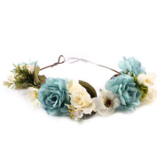 Redriver Rose Flower Wreath Hairband For Baby And Monther Headdress Weave Garlands