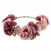 ULTNICE ULTNICE Flower Wreath headband Floral Garland Crown Hair Accessories with Ribbon for Wedding Featival Party Light Cafe