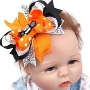 Mmrm Halloween Hair Barrette Accessories Hairclip Bows for Baby Girls Ribbon Hairpin Clip - Black Bat