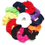 Luxxii (12 Pack) 11cm Fancy Soft Cotton Plain Colourful Scrunchies Ponytail Holder Elastic Hair Bands