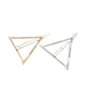 Fashion Minimalist Dainty Gold Silver Hollow Triangle Geometric Metal Hairpin Hair Clip