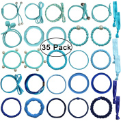 Fashion & Lifestyle Large Hair Ties Pony Ponytail Holders for Thick Hair - Stretchy Elastics Hair Bands Boutique Woven Ropes for Women and Girls (35 Pcs / Box), Blue