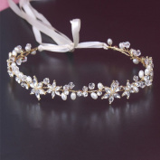 Yilanair Wedding Handmade Silver Jewellery Flowers Crystal Rhinestone Pearl Tiara Headband
