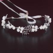 Yilanair White Flowers Crystal Rhinestone Pearl Tiara Headband for Women