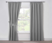 Julian Charles Luna Thermal Coated Pencil Pleat Curtains, Silver, 230cm X 230cm