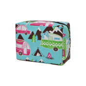 Happy Camper Print NGIL Large Cosmetic travel Pouch