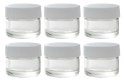 Clear Glass 5 ml 1/6 oz Small Thick Wall Balm Salve Pot Container Jars with White Ribbed Lids (6 pack) + Travel Bag
