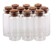"""25PCS 50mm 2"""" 10ml Clear Glass Bottles Message Spice Storage With Cork Stoppers Message Weddings Wish Jewellery Arts Crafts Sample Wishing Bottles Perfume DIY Containers"""