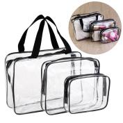 VORCOOL 3pcs Clear Cosmetic Bag Travel Toiletry Makeup Bath Organiser Waterproof