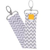Lipstick Holder Keychain, 2pcs/6pcs Wave Pattern Lip Balm Chapstick Pouch Strap Key Ring Bag Mothers Girls Gift