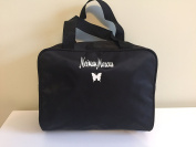 Neiman Marcus Butterfly Logo Makeup/Toiletries Top Handle Travel Tote, Black