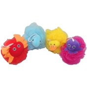 Loofah Exfoliating Shower Stuffed Sponge Pouffe Mesh Brush With Animal Toys - Bath Spa Puff Scrubber Ball - Body poof Cleaner For Children Kids - Rich Foams Bubble(12cm each) Pack of 4
