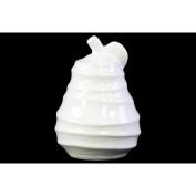Accent Pear Figurine with Spiral Ripple Design - White - Benzara